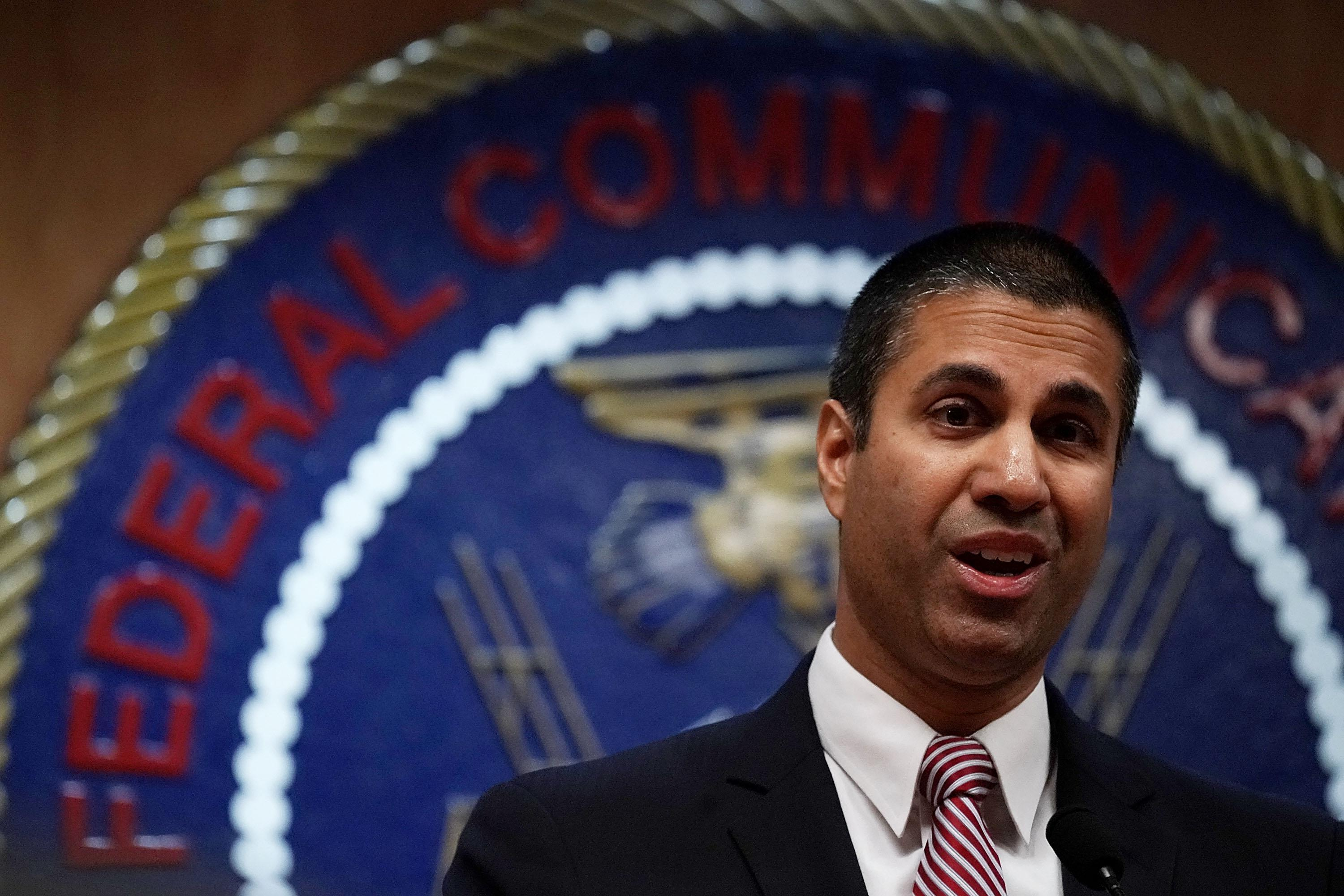 Federal Communications Commission Chairman Ajit Pai speaks to members of the media after a commission meeting December 14, 2017 in Washington, DC. FCC has voted to repeal its net neutrality rules at the meeting.  (Photo by Alex Wong/Getty Images)