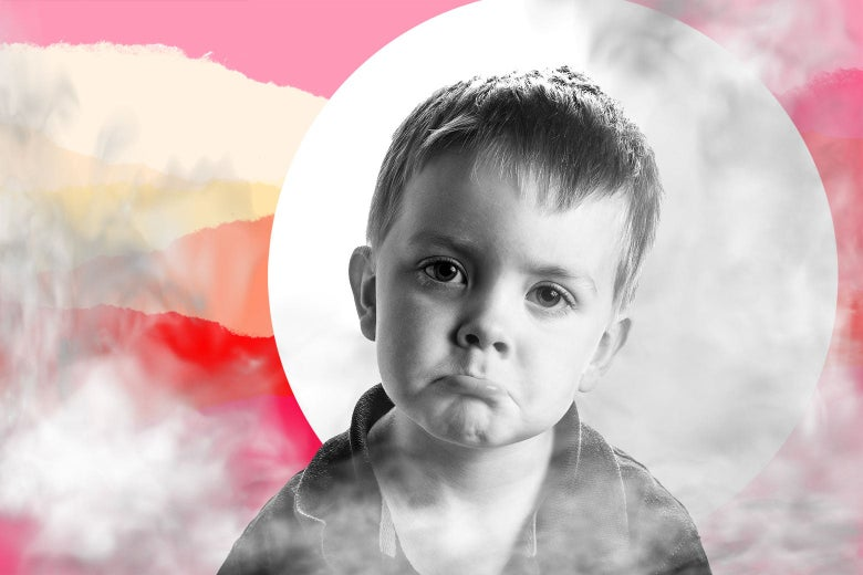 Photo illustration of a sad toddler surrounded by smoke.