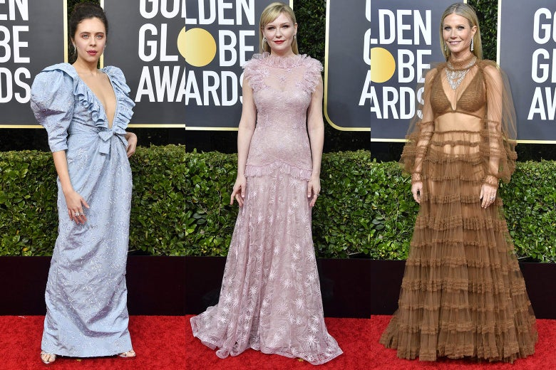 Bel Powley, Kirsten Dunst, and Gwyneth Paltrow pose on the 2020 Golden Globes red carpet.