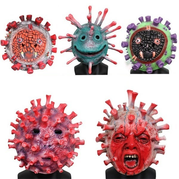 Five scary virus masks with faces and spikes.