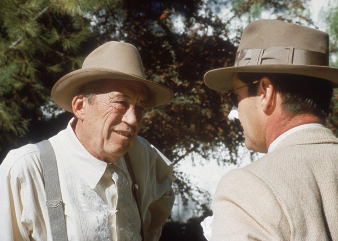 John Huston and Jack Nicholson in Chinatown.