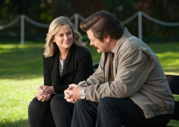 Amy Poehler as Leslie Knope and Nick Offerman as Ron Swanson in Parks and Recreation