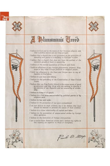 The Klansman's Creed