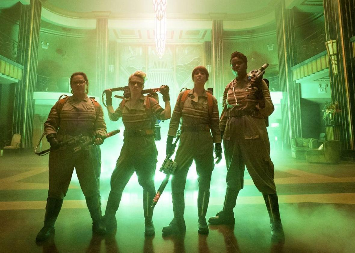 Leslie Jones, Melissa McCarthy, Kate McKinnon, and Kristen Wiig star in Ghostbusters.