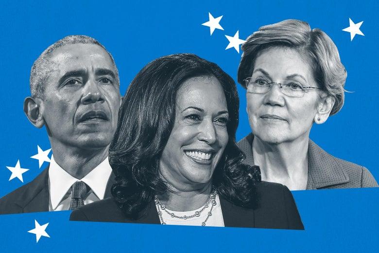 Collage of Barack Obama, Kamala Harris, Elizabeth Warren