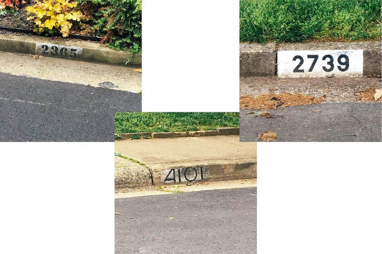 Different styles of address numbers from different eras.