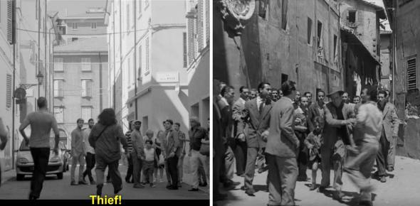 Screengrab from Netflix and still from Bicycle Thieves