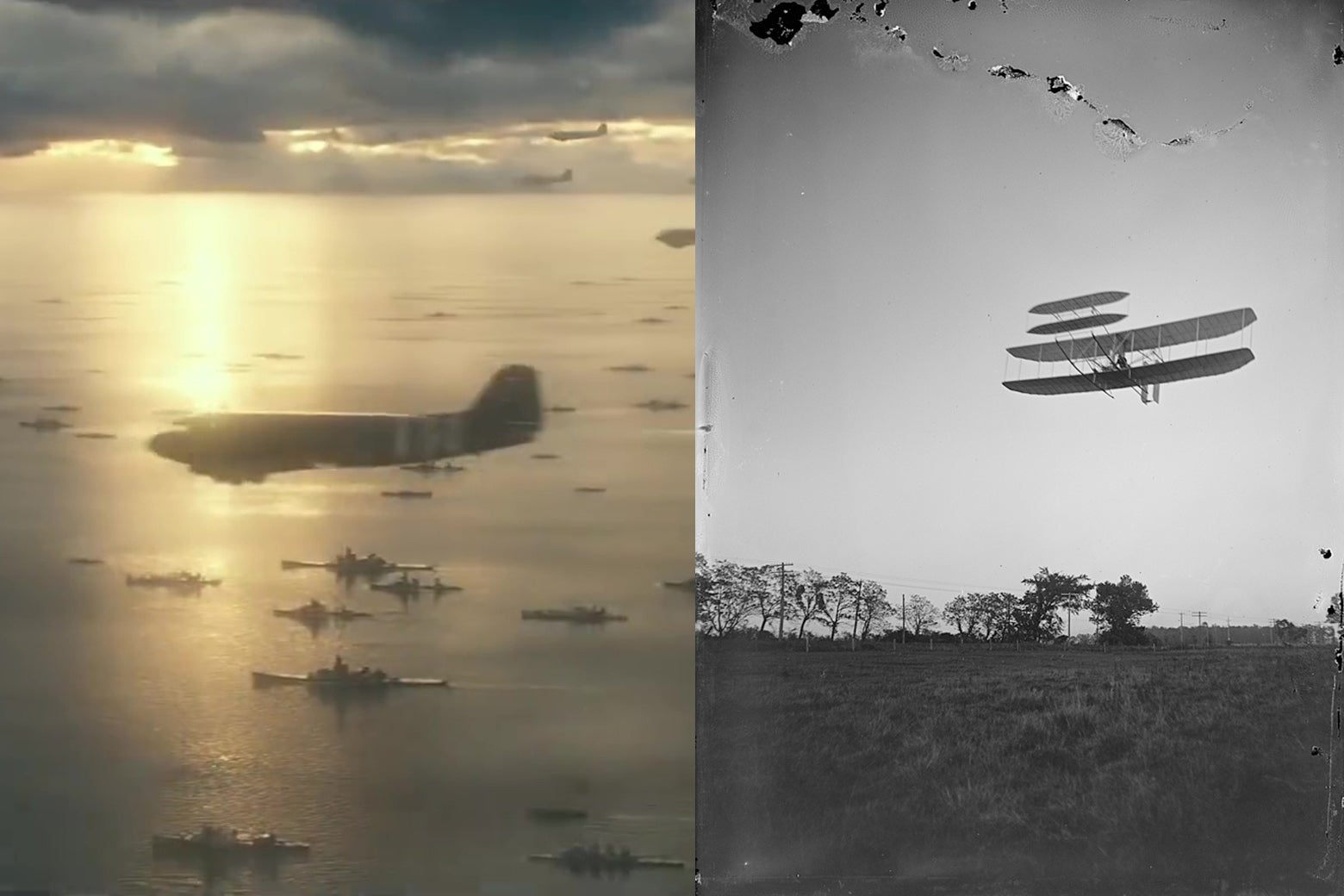 A still from Overlord showing an airplane, paired with an image of the Wright Brothers' plane.