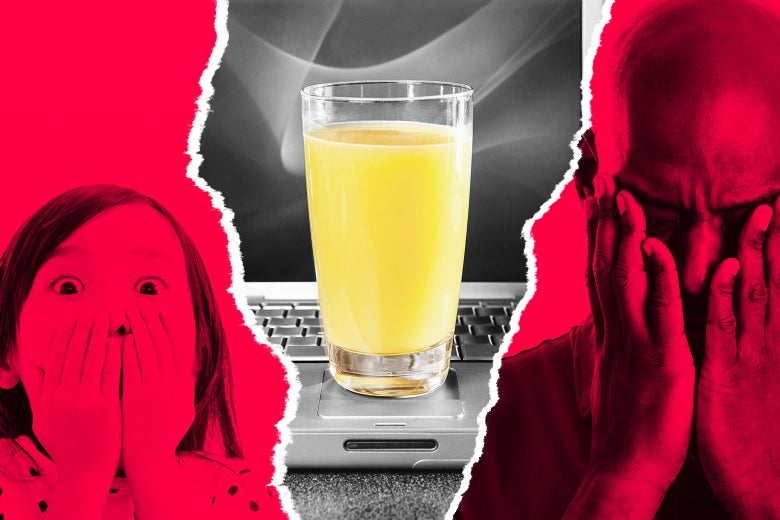 A glass of orange juice on top of a laptop with a shocked little girl and stunned grown man looking on.