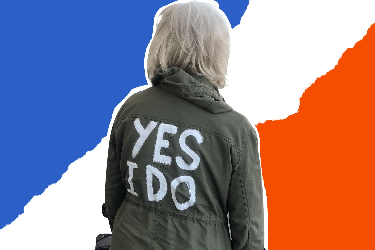 "The author in the ""YES I DO"" jacket that she canvasses in."