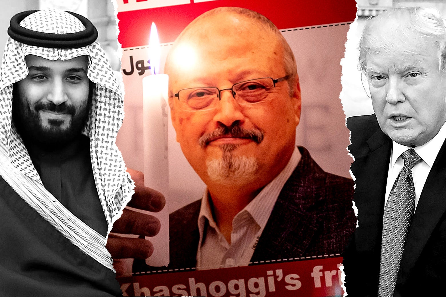 Photo illustration of MBS and Donald Trump with a ripped photo flourish. In the center is a photo of Jamal Khashoggi.