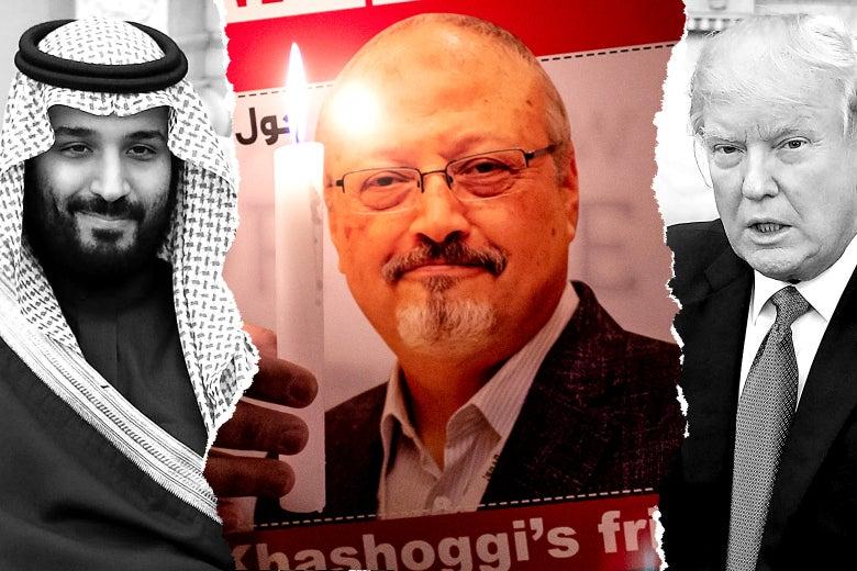 Ilustración fotográfica de MBS y Donald Trump con una foto rota. En el centro hay una foto de Jamal Khashoggi.