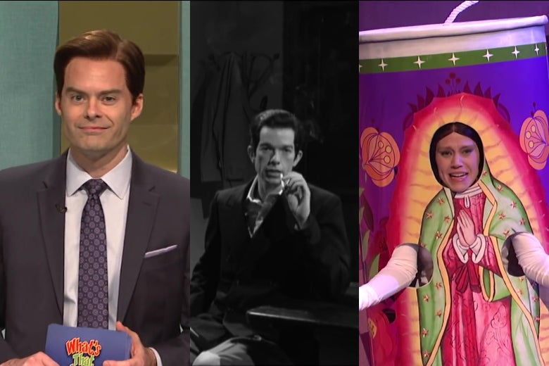 A composite of three stills from SNL showing Bill Hader dressed as a game show host, John Mulaney dressed as Humphrey Bogart, and Kate McKinnon dressed as a bodega candle.
