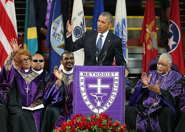 President Barack Obama delivers the eulogy for the Rev. Clementa Pinckney during Pinckney's funeral service on June 26, 2015, in Charleston, South Carolina.