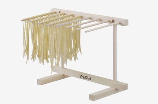 VonShef Collapsible Wooden Pasta and Spaghetti Drying Rack Stand.