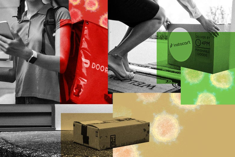 A collage of photos of a DoorDash delivery worker wearing a package and looking at their phone, a person picking up an Instacart package from their front porch, an Amazon package placed on a rug, and some virus cells.
