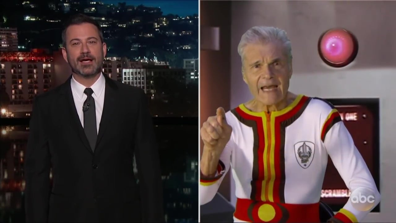 A split-screen image showing Jimmy Kimmel interviewing Fred Willard, who is wearing an absurd Space Force uniform.