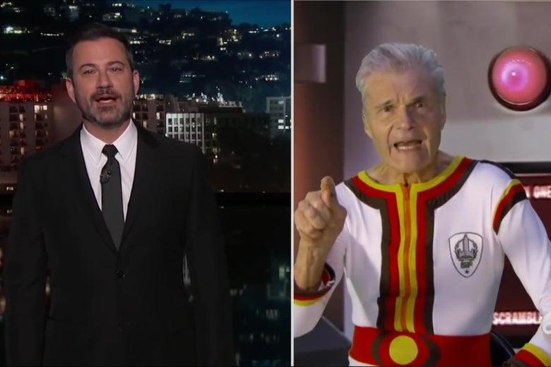 A split-screen image showing Jimmy Kimmel interviewing Fred Willard, who is wearing an absurd Space Force uniform.