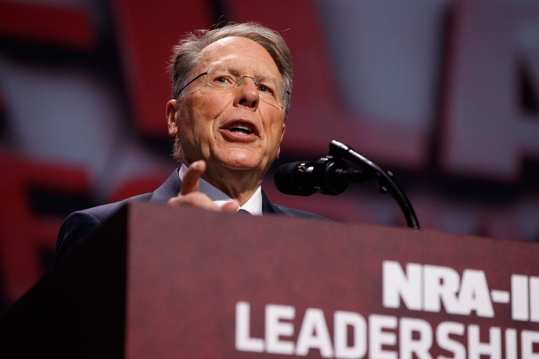 The NRA's Wayne LaPierre speaks at a conference on April 28 in Atlanta.