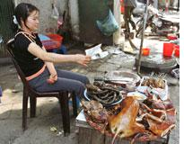 Grilled dog meat