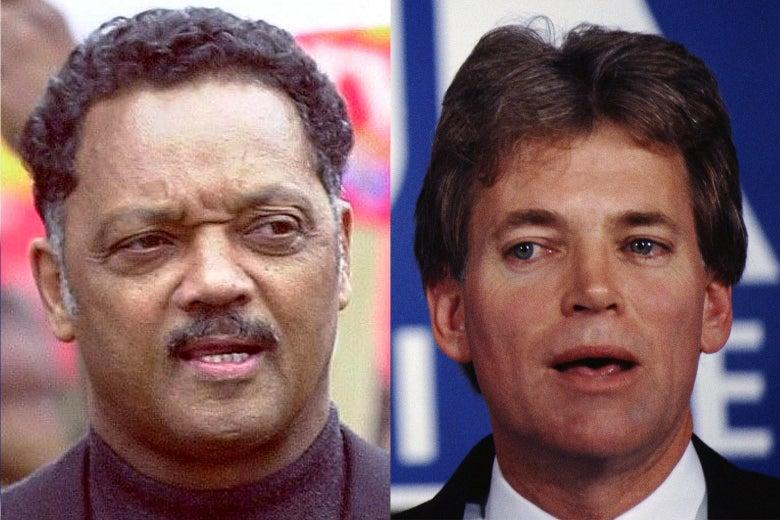 Left: Jesse Jackson in 2000. Right: David Duke in the 1980s.