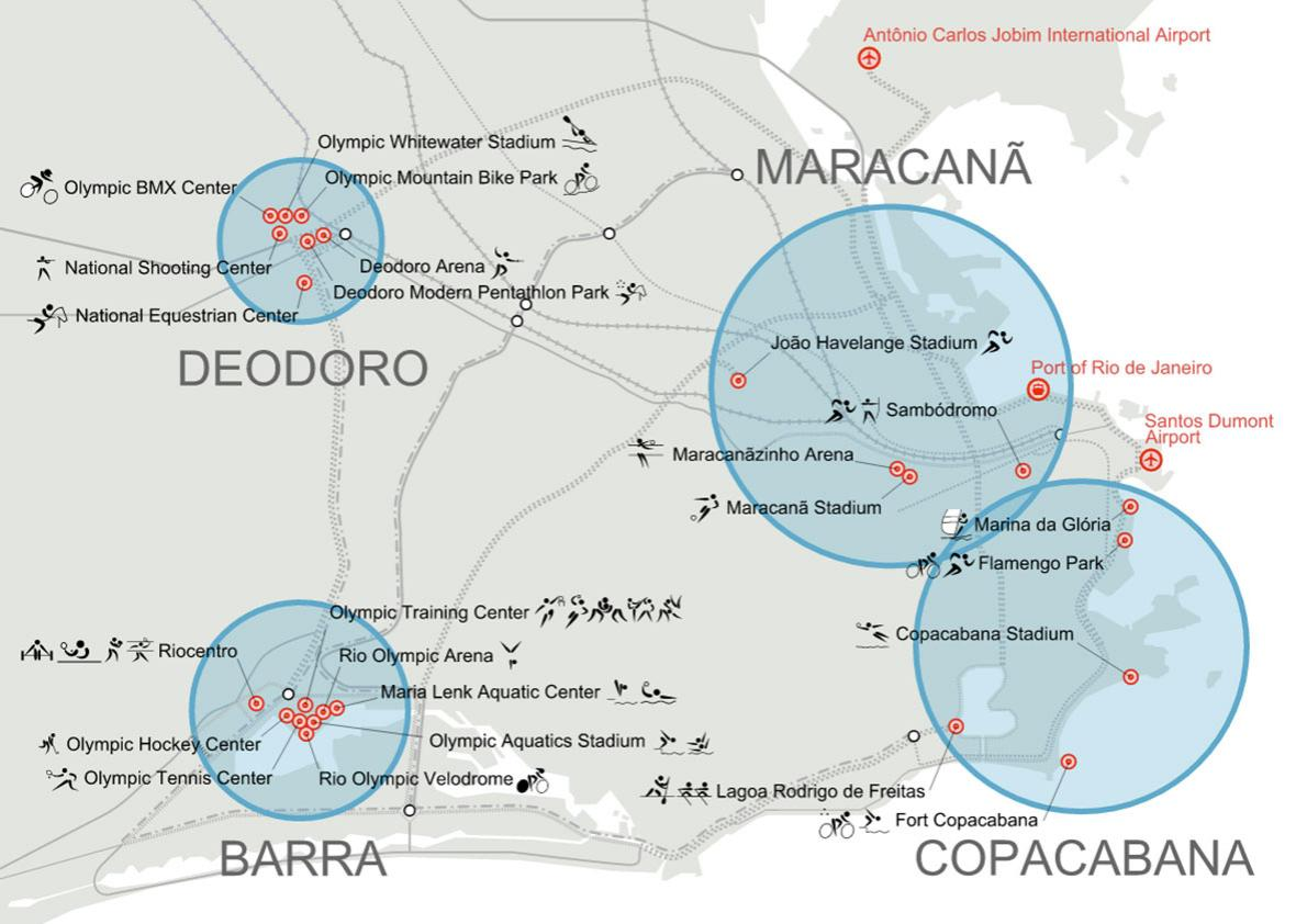 Map of Rio de Janeiro showing the competition venues planned for the 2016 Summer Olympics.