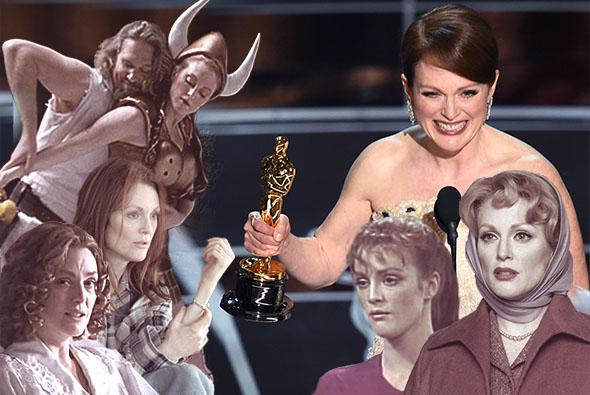 Julianne Moore in The Big Lebowski, Still Alice, Safe, As The World Turns, Far From Heaven, and at the 87th Oscars, February 22, 2015 in Hollywood, California.