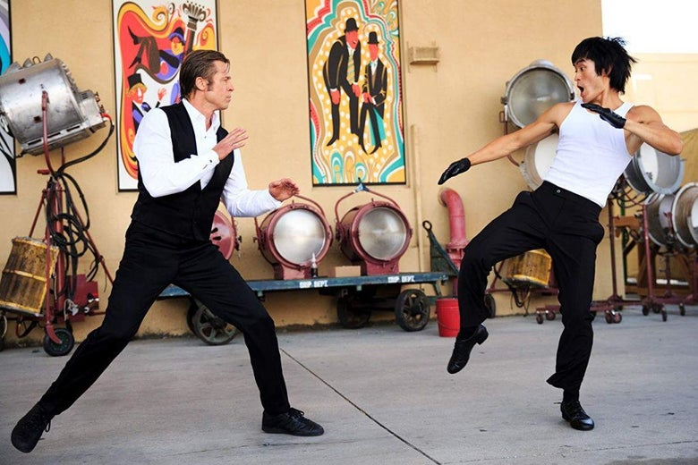 Brad Pitt and Mike Moh spar in a scene from Once Upon a Time in Hollywood.