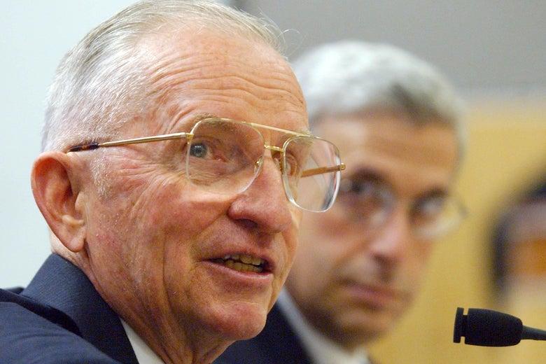 Ross Perot testifies before a California Senate committee in 2002