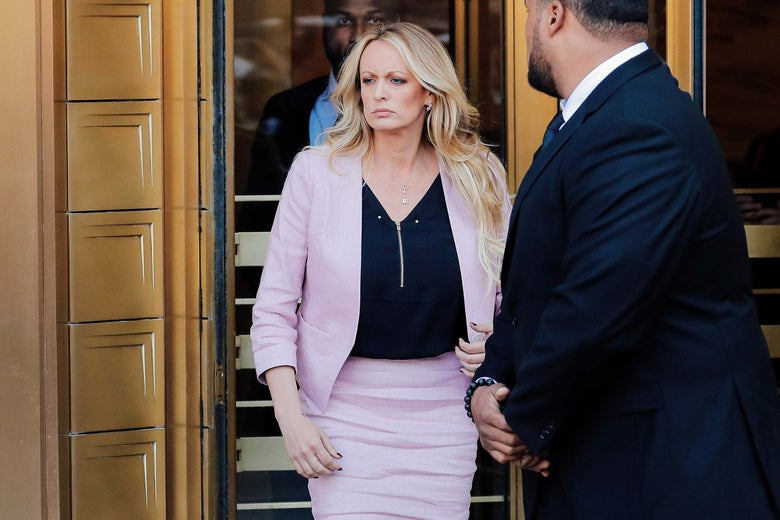Adult-film actress Stephanie Clifford, also known as Stormy Daniels, departs federal court in the Manhattan borough of New York City, New York, U.S., April 16, 2018.