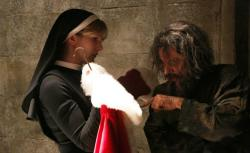 Lily Rabe as Sister Eunice and Ian McShane as Leigh in 'American Horror Story: Asylum.'