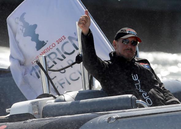 Larry Ellison strikes sail.
