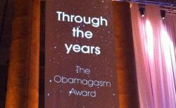 A banner introduces one of the awards at the Media Research Center's gala dinner.