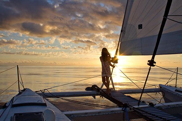 Maia at sunset on a calm day near New Caledonia.