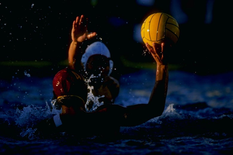 6 Dec 1998: Peter Janov #4 of the University of Southern California in action during the NCAA Water Polo Championships Finals First Place Match against Stanford University at Marian Bergeson Aquatics Center in Newport Beach, California. USC defeated Stanford 9-8. Mandatory Credit: Donald Miralle  /Allsport
