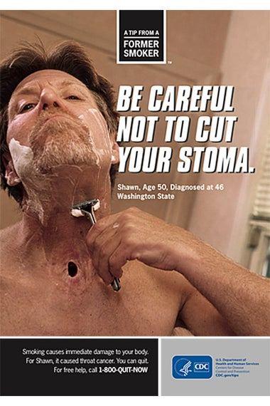A man shaving around his stoma.