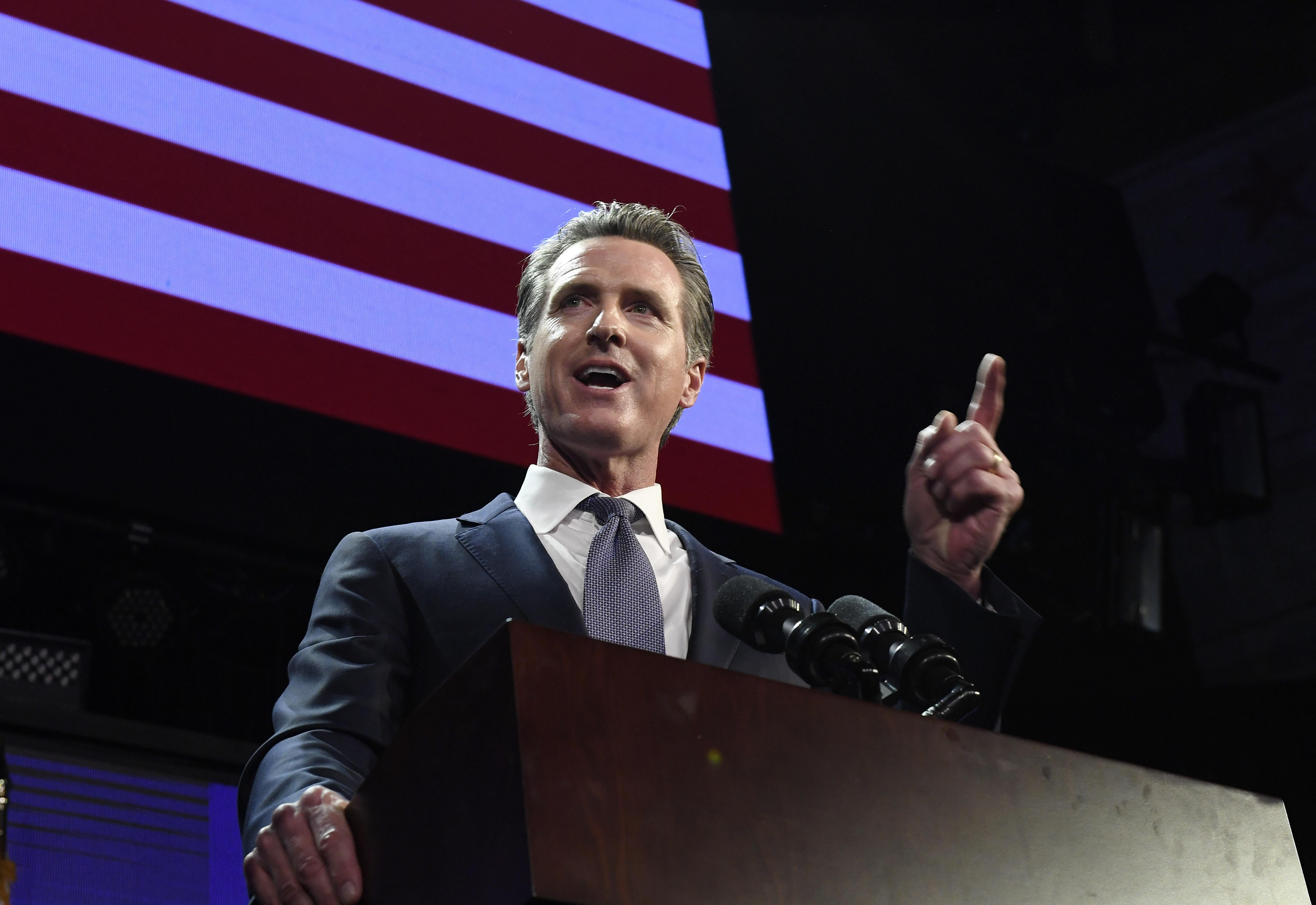 Gavin Newsom speaks during election night event on Nov. 6, 2018 in Los Angeles, California.