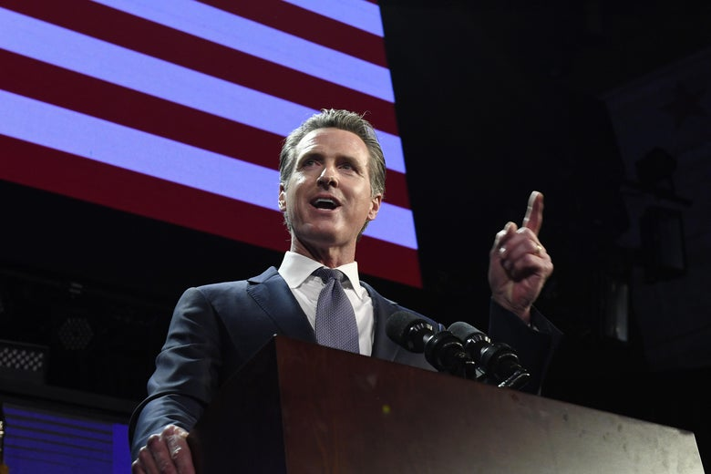 Gavin Newsom speaks during election night event on Nov. 6, 2018 in Los Angeles, California.
