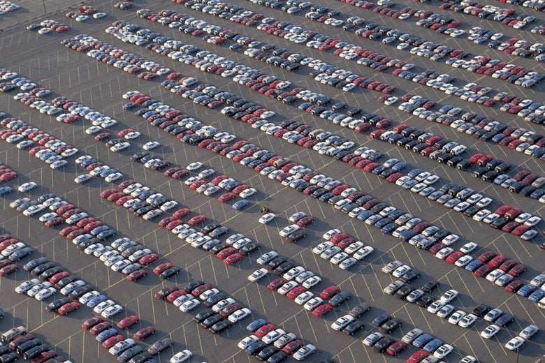 Cars on a lot in Newark, New Jersey.