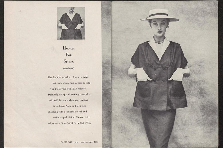 """""""Hooray for Spring"""" reads copy on the left page. On the right page is a woman in a smart skirt suit with a tented top."""