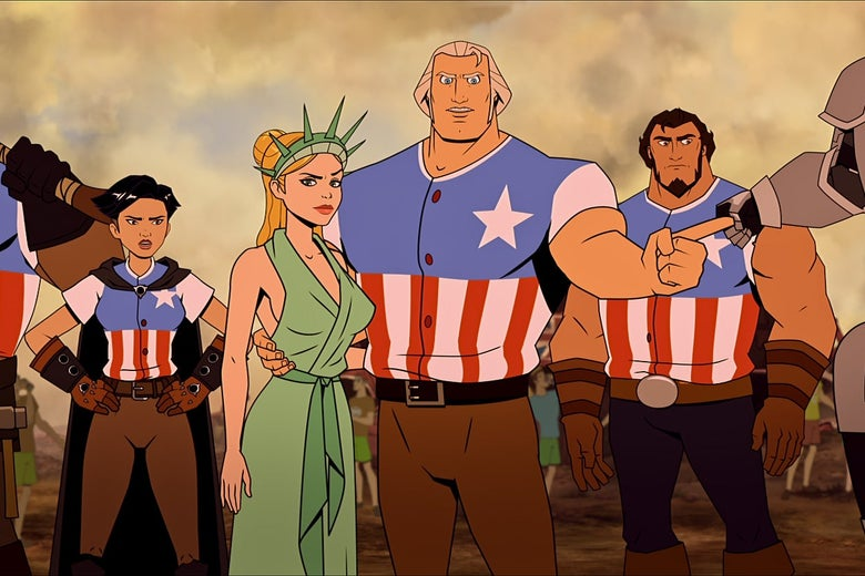 In the cartoon, George Washington is a burly man wearing an American flag shirt and brown pants and Martha is dressed as the Statue of Liberty. Sam Adams and a female Thomas Edison wear the same American flag shirt and brown pants as George does.