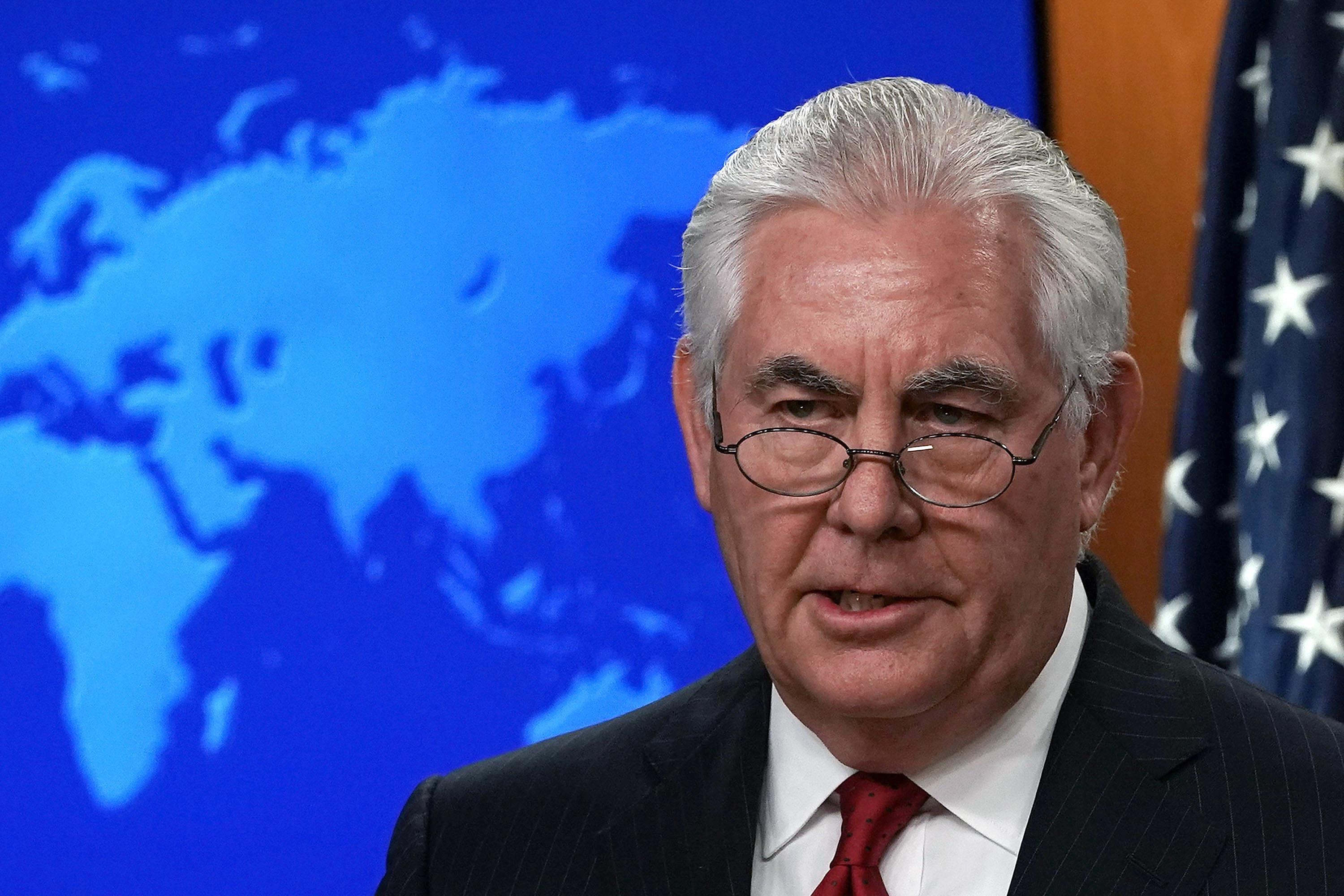 WASHINGTON, DC - MARCH 13:  Outgoing U.S. Secretary of State Rex Tillerson makes a statement on his departure from the State Department March 13, 2018 at the State Department in Washington, DC. President Donald Trump has nominated CIA Director Mike Pompeo to replace Tillerson to be the next Secretary of State.  (Photo by Alex Wong/Getty Images)