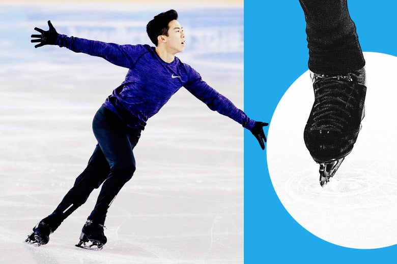 At left: Nathan Chen skating. At right: a close-up on his skate.