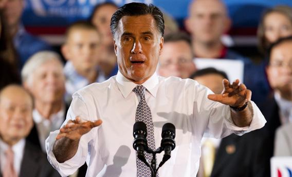 Republican presidential candidate Mitt Romney addresses a campaign rally in Sterling, Virginia, June 27, 2012.