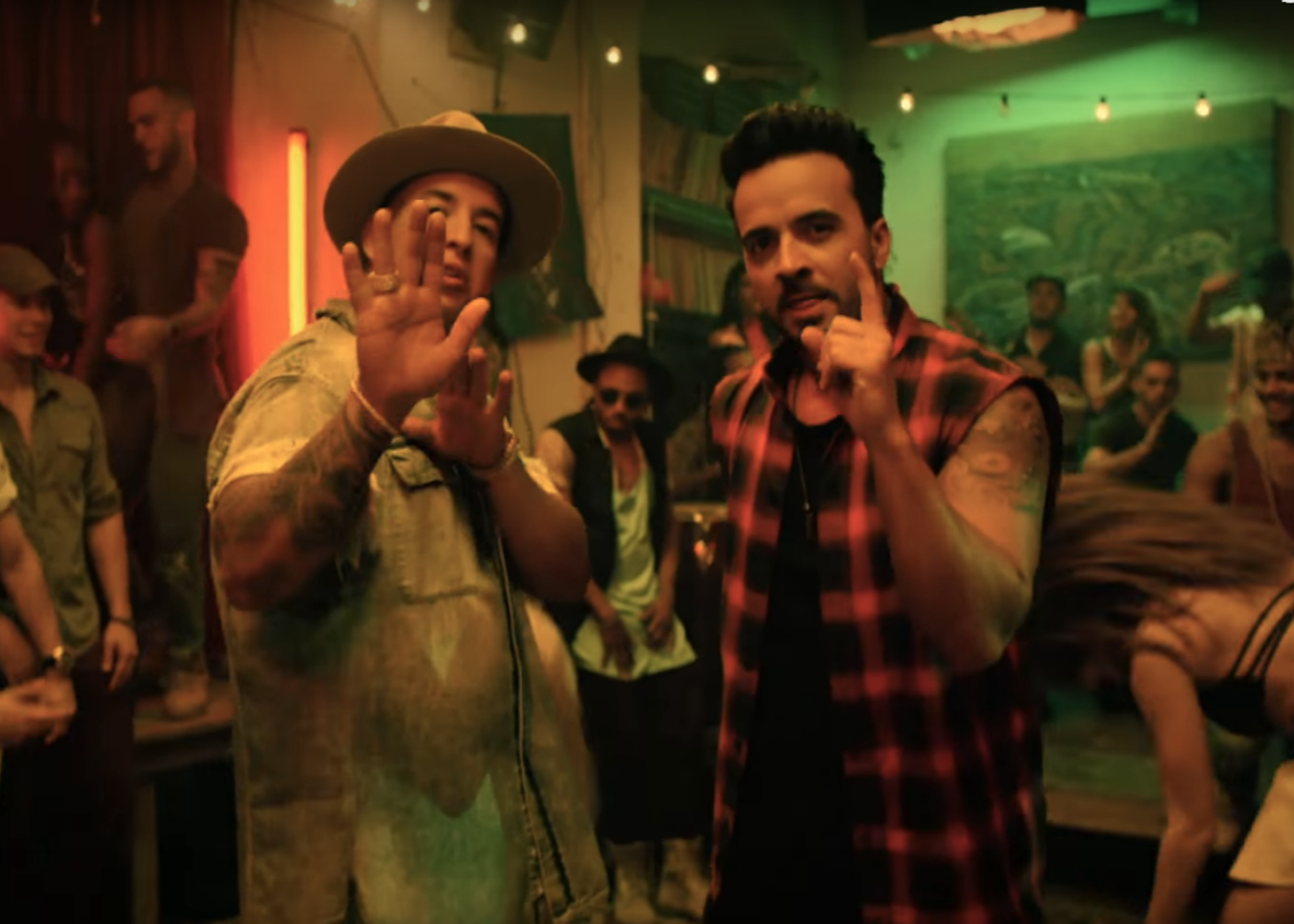 "Luis Fonsi and Daddy Yankee in the video for ""Despacito"""