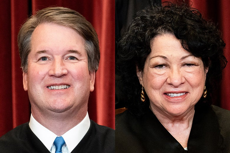 Side by side photos of Brett Kavanaugh and Sonia Sotomayor smiling in their robes in front of a red curtain