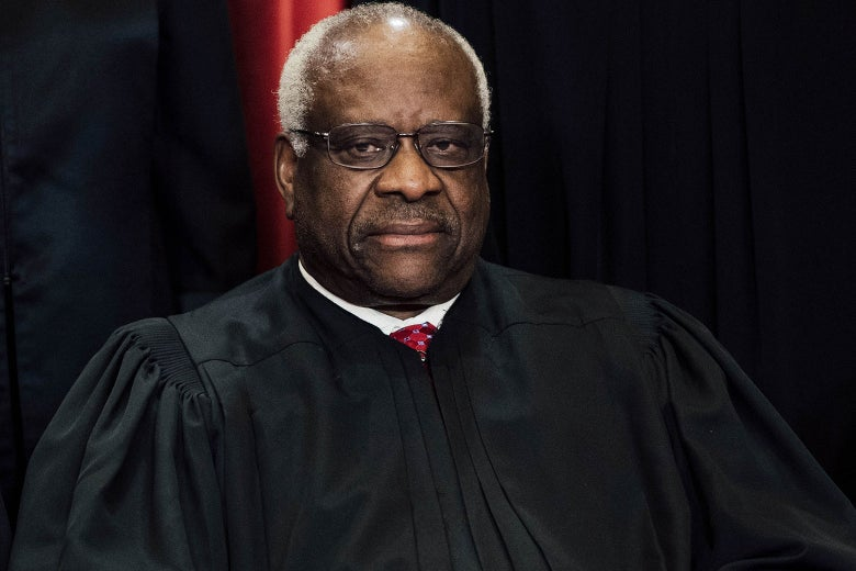 US Supreme Court Associate Justice Clarence Thomas sits for an official photo with other members of the US Supreme Court in the Supreme Court in Washington, DC, June 1, 2017. / AFP PHOTO / SAUL LOEB (Photo credit should read SAUL LOEB/AFP/Getty Images)