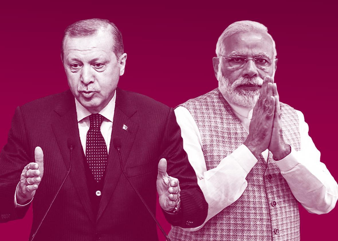 Turkish President Recep Tayyip Erdogan and Indian Prime Minister Narendra Modi