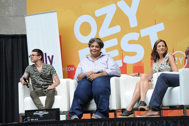 Roxane Gay sits onstage with Christian Siriano.