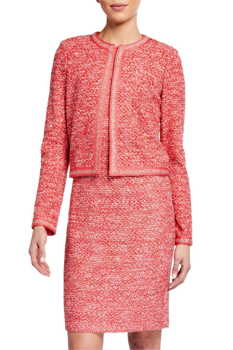 St. John Collection Marled Space Dyed Tweed Knit Jacket